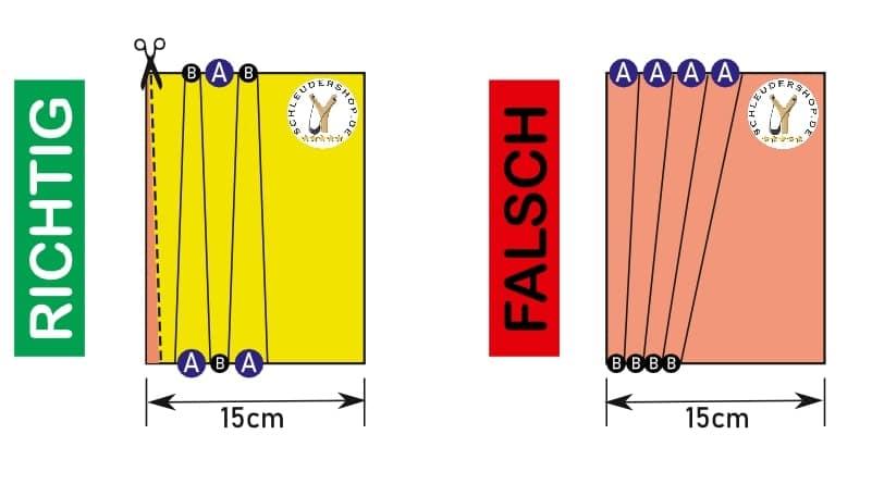 Steinschleuder Ersatzgummi selber schneiden Richtig - Falsch