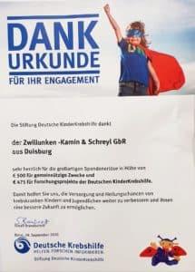 DFank Urkunde für Spende an die Stiftung Deutsche KinderKrebshilfe