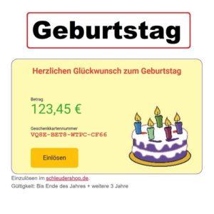 Geburtstag Geschenkkarte Giftcard Wertgutschein Gutscheinkarte