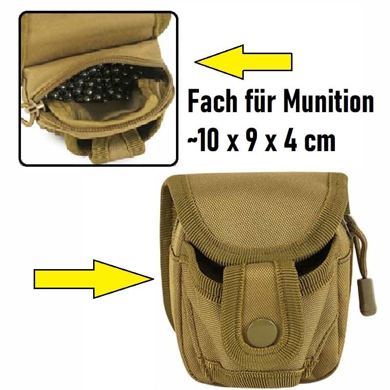 Holster und Kugeltasche Khaki Sportschleuder Gear-min