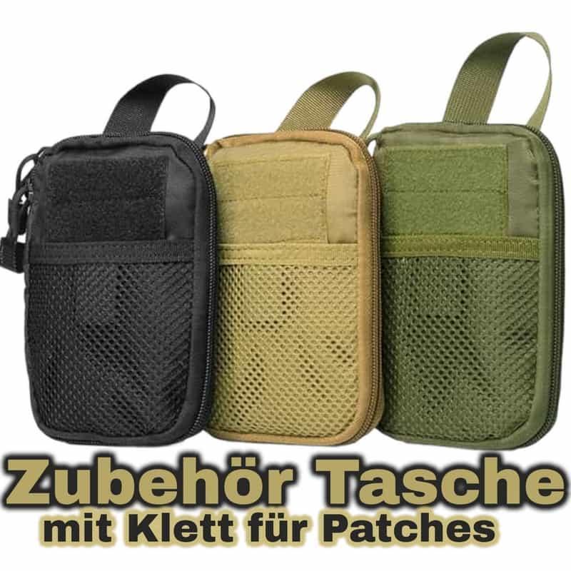 Zubehörtasche Tactical Klett und Reißverschluss black khaki camo-green