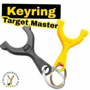 WASP Target Master Slingshot Keyring black yellow schwarz gelb Schlüsselanhänger Fletsche
