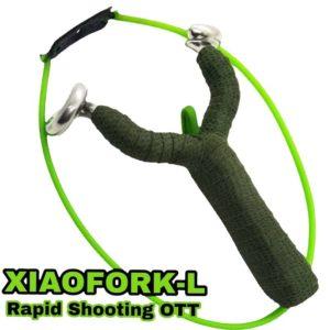 XIAOFORK-L GZK Rapid Shooting Frame Steinschleuder Sportschleuder Zwille Tubes Rundgummi